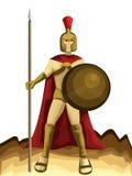 Spartan Army com desenhos animados da lança e do protetor Imagem de Stock Royalty Free