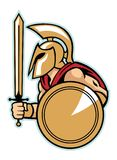 Spartan army with shield Royalty Free Stock Photo