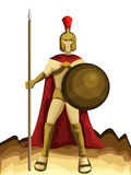 Spartan Army with Spear and Shield Cartoon Royalty Free Stock Image