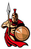 Spartan army. Vector of spartan army pose with shield and lance stock illustration