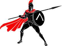 Spartan Battle Warrior Spear and Shield. Isolated Valiant warrior ready for battle Royalty Free Stock Photography