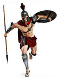 Spartan Charge , Full Length Illustration Of A Spartan Warrior In Battle Dress Attacking On A White Background Stock Image