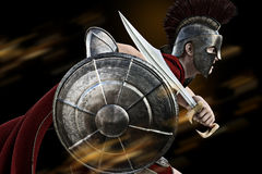 Spartan charge. Spartan warrior in Battle dress attacking . Photo realistic 3d model scene Royalty Free Stock Photography