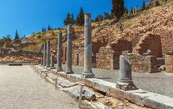 Spartan collonade - Delphi - Greece. The view of the spartan colonnade, which is one of the elements in the complex of the temple Apollo Stock Image