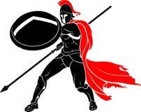 Spartan Fighting Stance con el escudo y el arma stock de ilustración