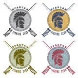 Spartan fishing club labels with warrior head Stock Photo