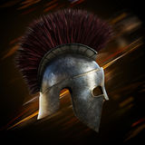 Spartan helmet with an abstract light ray Royalty Free Stock Image
