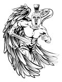 Spartan helmet angel. An illustration of a warrior angel character or sports mascot  in a trojan or Spartan style helmet holding a sword Royalty Free Stock Photo