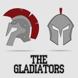 Spartan Helmet, Griekse strijder, Gladiator Royalty-vrije Stock Afbeelding
