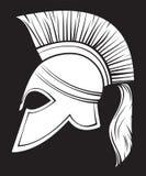 Spartan helmet. Illustration of an ancient greek warrior helmet, spartan helmet, trojan helmet or gladiator helmet Stock Photo