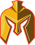 Spartan Helmet Retro. Illustration of a spartan helmet viewed from front set on isolated white background done in retro style Royalty Free Stock Photos