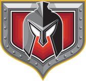 Spartan Helmet Shield Retro Stock Photo