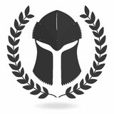 Spartan helmet silhouette with laurel wreath. Front view. Knight, gladiator, viking, warrior helmet icon. Vector royalty free illustration