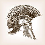 Spartan helmet sketch style vector illustration Royalty Free Stock Images