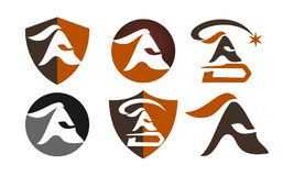 Spartan Helmet Template Set Vektor Illustrationer