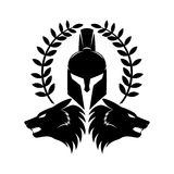 Spartan helmet and wolf heads. Spartan helmet and wolf heads on a white background Stock Photos