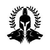 Spartan helmet and wolf heads. stock illustration