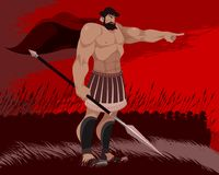 Spartan and his warriors. Vector illustration of a Spartan and his warriors Royalty Free Stock Images