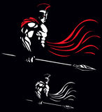 Spartan. Illustration of Spartan warrior on black background in 2 color versions Stock Photo
