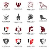 Spartan Logo Vector Sparta hjälm Royaltyfri Illustrationer