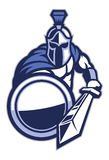 Spartan mascot with shield and the sword Stock Image