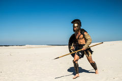 Spartan quickly runs through the sand. With weapons Stock Image