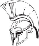 Spartan roman greek trojan gladiator helmet. An illustration of Spartan roman greek trojan or gladiator helmet with plume Royalty Free Stock Images