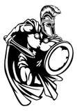 Spartan Roman or Trojan Gladiator Ancient Greek Warrior. Spartan, Roman or Trojan gladiator ancient Greek warrior with sword Corinthian helmet and shield Stock Photos