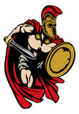 Spartan Roman or Trojan Gladiator Ancient Greek Warrior. Spartan, Roman or Trojan gladiator ancient Greek warrior with sword Corinthian helmet and shield royalty free illustration