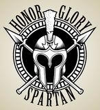 SPARTAN SKULL AND HELMET. Print doodle vector or illustration poster Stock Photo
