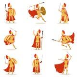 Spartan Soldier In Golden Armor et ensemble rouge de cap d'illustrations de vecteur avec le héros militaire grec dans le combat illustration libre de droits