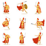 Spartan Soldier In Golden Armor And Red Cape Set Of Vector Illustrations With Greek Military Hero In The Fight. Male Cartoon Character In Ancient Greece War royalty free illustration