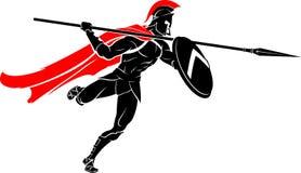 Spartan Spear Warrior Attack Fotografia Stock