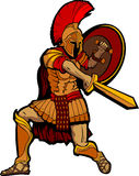 Spartan Standing with Sword and Shield Stock Photo