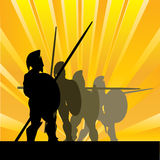 Spartan Sunrise. Background illustration with Spartan Hoplites against a sunburst Royalty Free Stock Images