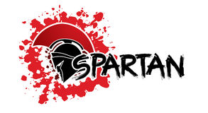 Spartan text designed. With helmet warrior graphic vector Royalty Free Stock Images