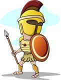 Spartan Trojan Cartoon med spjutet stock illustrationer