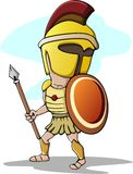 Spartan Trojan Cartoon with Spear stock illustration