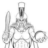 Spartan Trojan Gladiator Cricket Warrior Woman royalty free illustration