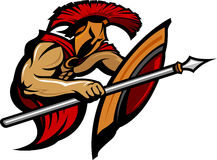 Spartan Trojan Mascot with Spear and Shield Royalty Free Stock Photo