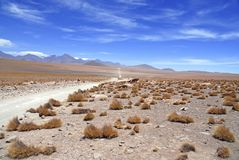 Spartan volcanic landscape of the Atacama Desert. An arid and remote high plateau of rock, mountains and sand in Chile near the Bolivia border, South America stock photography