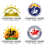 Spartan War with Sword and Horse Concept Logo Stock Photos