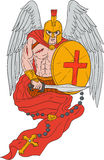 Spartan Warrior Angel Sword Rosary Drawing Royalty Free Stock Images