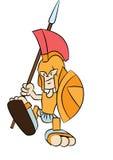 Spartan warrior cartoon. With shield and spear Stock Photos