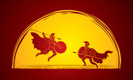 Spartan warrior. Fighting with a spear designed on moonlight background graphic vector Royalty Free Stock Image