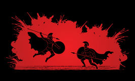 Spartan warrior. Fighting with a spear designed on splatter blood background graphic vector Royalty Free Stock Photos