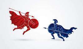 Spartan warrior. Fighting with a spear designed using red and blue grunge brush graphic vector Royalty Free Stock Images