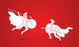 Spartan warrior. Fighting with a spear graphic vector Royalty Free Stock Photos