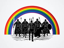 Spartan warrior. Group of Spartan warrior walking with a spear designed on rainbows background graphic vector Stock Photography