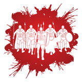Spartan warrior. Group of Spartan warrior walking with a spear designed on splash blood background graphic vector Stock Image